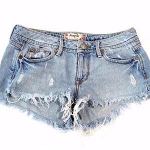Raw Hem Distressed Cut Off Shorts